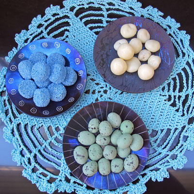 Group of salt sets with candies on lace latimeria stylework finland