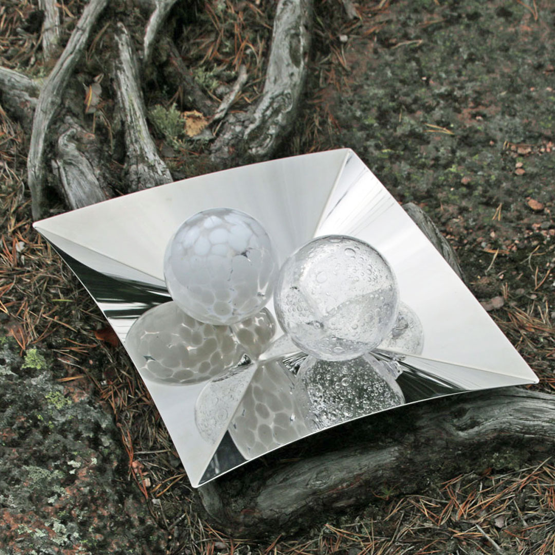 Stainless steel tray and glass balls Stylework Finland